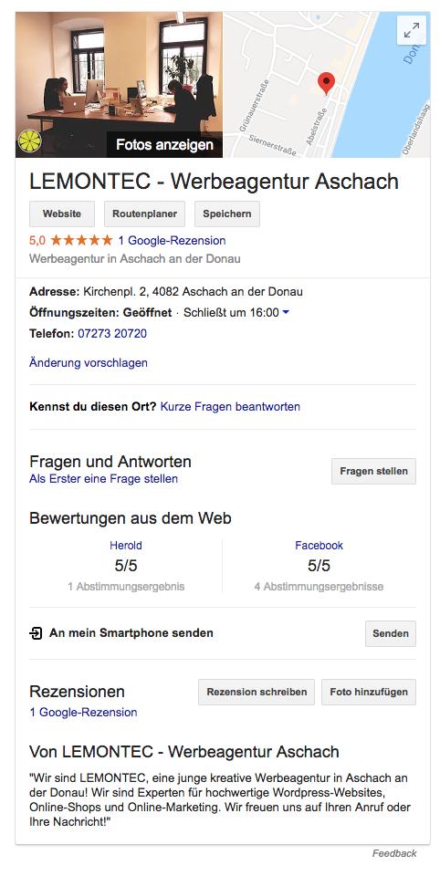 Hier sehen Sie, wie ein Google My Business Eintrag aussehen kann.